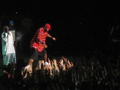 Method Man preparing to dive into the crowd at the Tweeter Center during Rock the Bells 2007