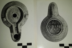 Roman oil lamp, showing underside with maker's mark. Museo Bellini