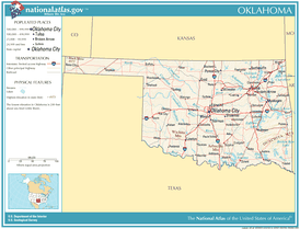A map of Oklahoma showing major roads and thoroughfares