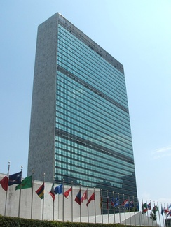 The Secretariat Building is a 154 m (505 ft) tall skyscraper and the centerpiece of the Headquarters of the United Nations