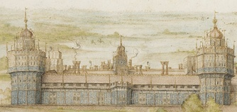 Detail of Georg Hoefnagel's 1568 watercolour of the south front of Nonsuch Palace. This is the way it would have looked early in the reign of Elizabeth I.
