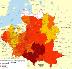 Number of Jews in Polish-Lithuanian Commonwealth per voivodeship in 1764