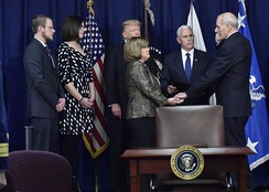 Pence swearing in John F. Kelly at DHS Headquarters on January 25, 2017