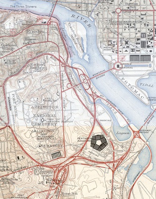 1945 map of the Pentagon road network, including present-day State Route 27 and part of the Shirley Highway, as well as the Main Navy and Munitions Buildings near the Lincoln Memorial