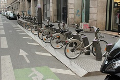 The Vélib' in Paris is the largest bikesharing system outside China[81]