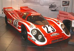 The Porsche Museum's chassis 001 painted like the 023 Porsche 917K driven to victory in the 1970 24 Hours of Le Mans by Attwood and Hans Herrmann.