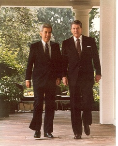 Richard Lugar and then-President Ronald Reagan, July 1981