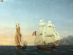 The brig Inconstant, under Captain Taillade and ferrying Napoleon to France, crosses the path of the brig Zéphir, under Captain Andrieux. Inconstant flies the tricolour of the Empire, while Zéphir flies the white ensign of the Monarchy.