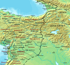 The Eastern Roman–Persian border at the time of Justinian's death in 565, with Lazica in Eastern Roman (Byzantine) hands