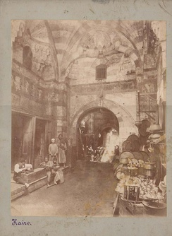Bazaar at Khan el-Khalili, Cairo by Pascal Sébah from Georg Ebers, Egypt: Descriptive, Historical, and Picturesque, Vol. 1, Cassell & Company, New York, 1878