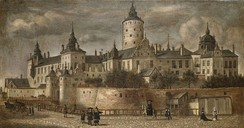 The castle Tre Kronor, located on the site of today's palace, in a painting from 1661 by Govert Dircksz Camphuysen.