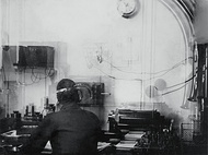 Marconi Company receiving equipment for a 5 kilowatt ocean liner station (in the picture, the wireless radio room of Titanic's sister ship, the Olympic)