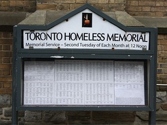 Homeless memorial in Toronto, Canada