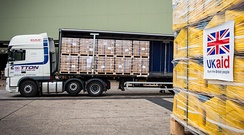British aid for Iraq is loaded at RAF Brize Norton