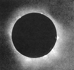 The first solar eclipse photograph taken on July 28, 1851 by a daguerrotypist named Berkowski.