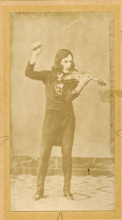 1900 Imperial Cabinet card of famous Fiorini fake daguerreotype (photograph) of Paganini