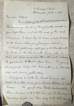 Personal, formal handwritten letter from Maj Gen NJT Dana (b.1822 d.1905) to his grandson Alfred L Dana b.1886 very shortly before the Maj's death. It is possible Alfred received the letter after the Maj's death.