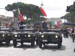 Land Rovers on parade with the Italian Army, Navy and Air Force, June 2007