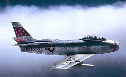 The F-86 Sabre (left), flown by Jabara, was used to shoot down all of his 15 MiG-15 (right) air victories of the Korean War.