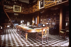 Interior of the Stone Library, a separate structure located next to the home