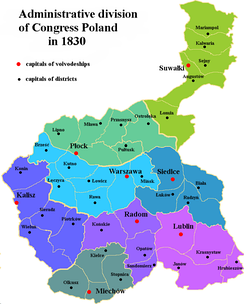 Administrative division of Congress Poland in 1830.