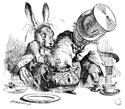 The March Hare and the Hatter put the Dormouse's head in a teapot, by Sir John Tenniel.