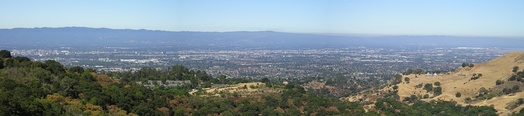 Looking west, across the valley, from Alum Rock Park over northern San Jose (downtown is at far left) and other parts of the valley. The valley runs north to south in the picture.