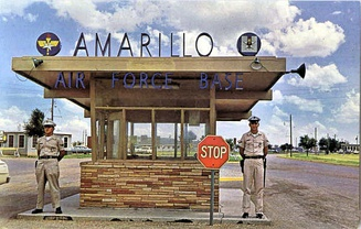 Amarillo AFB in the 1960s, front gate (left) and a B-47 class (right)