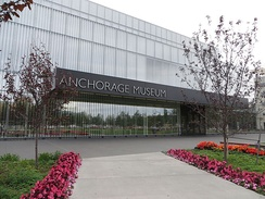The front entrance of the Anchorage Museum at Rasmuson Center in downtown.