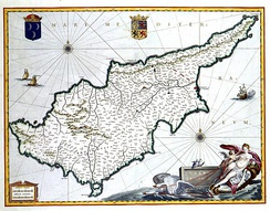 The middle age depiction of Cyprus island, where 'Ubadah ibn al-Samit under Muawiya conquered