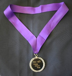 A medal on a ribbon designed to be worn around the winner's neck.