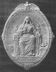The Library's historical seal, designed by sculptist Victor David Brenner in 1909, best known as the designer of the Lincoln penny. Though rarely used, the seated personification of wisdom appears on plaques at several branches.