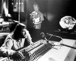 Brian Wilson behind the mixing board of Brother Studios during a 15 Big Ones session.