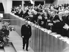 Brezhnev at a Party congress in East Berlin in 1967