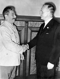 German Foreign Minister Joachim von Ribbentrop (right) and the Soviet leader Joseph Stalin, after signing the Molotov–Ribbentrop Pact, 23 August 1939