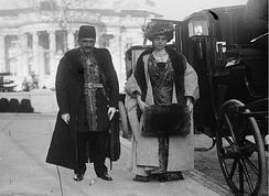 Persia's chargé d'affaires and his wife visiting President Woodrow Wilson at the White House in May 1913.