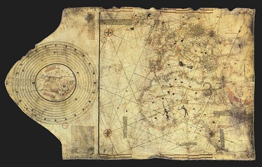 """Columbus map"", drawn c. 1490 in the Lisbon workshop of Bartolomeo and Christopher Columbus[28]"
