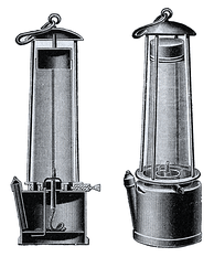 Diagram of a Davy lamp