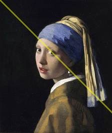 Example using Vermeer's Girl with a Pearl Earring. The yellow diagonal line intersects two main points of interest: the girl's left eye and the pearl earring.