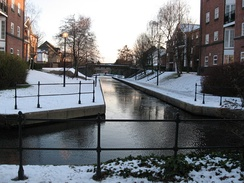 Dock feeder canal in Atlantic Wharf in Winter