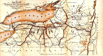 1853 Map of New York canals emboldened, center: the Erie Canal; other lines: railroads, rivers and county borders