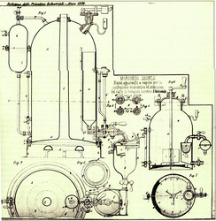 First patent for the espresso machine, Angelo Moriondo (1884)
