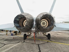 Exhaust nozzles of an RAAF F/A-18 at the Whenuapai Air Show in New Zealand in March 2009