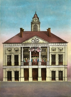 Federal Hall, Seat of Congress, 1790 hand-colored engraving by Amos Doolittle, depicting Washington's April 30, 1789 inauguration