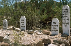 Graves of Tom McLaury, Frank McLaury and Billy Clanton at Boot Hill