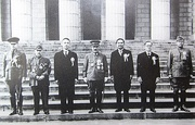 Greater East Asia Conference in November 1943, participants left to right: Ba Maw, Zhang Jinghui, Wang Jingwei, Hideki Tojo, Wan Waithayakon, José P. Laurel, Subhas Chandra Bose.