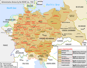 Map of the Greater German Reich with administrative divisions set by the Nazi Party, 1944