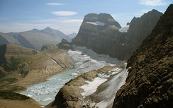 The Grinnell Glacier receives 105 inches (2,700 mm) of precipitation per year