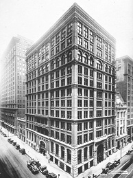 The Home Insurance Building in Chicago, completed in 1885, was the first steel-frame skyscraper; it was demolished in 1931.