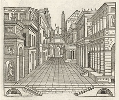 Architectural perspective of a stage set by Sebastiano Serlio, 1569[22]
